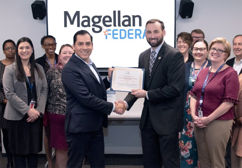 "Magellan Federal Achieves V3 Certification On February 11, 2020, Magellan Federal was awarded V3 certification from Virginia Values Veterans for our public commitment to hire veterans. The ceremony took place at Magellan Federal's Arlington, VA headquarters office, and was presented by V3 Regional Program Manager, Kenneth Lyles on behalf of Virginia Governor, Ralph Northam. The V3 program helps employers develop and implement long-term strategies and nationally recognized best practices in recruiting, hiring, and retaining Veterans. The program has 1,000+ certified companies and 55,000+ veterans hired. ""We have always been committed to hiring veterans, and now I am thrilled to have greater access to a wide variety of industries to network and share best practices for increasing career opportunities for those that have served,"" said Magellan Federal CEO, Oscar Montes."